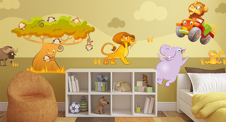 Safari Park, Wall Stickers for Childrens Bedrooms