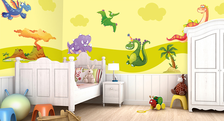 Come the Dinosaurs, Dinosaurs Wall Stickers for Kids