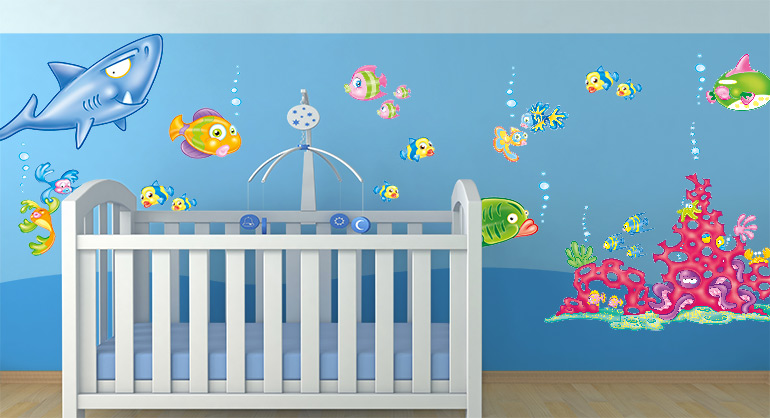 Sea and Fish Wall Stickers for Childrens Bedrooms, Tropical Fish