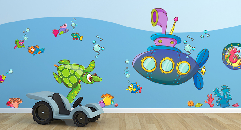 Sea and Fish Stickers, Underwater World, Wall Stickers for Kids