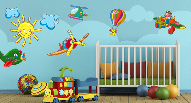Wallstickers Airplanes, Helicopters, Flying Ballons for Children Nursery, in Flight