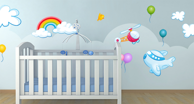 Wall Decorations for Children Room, in the Clouds