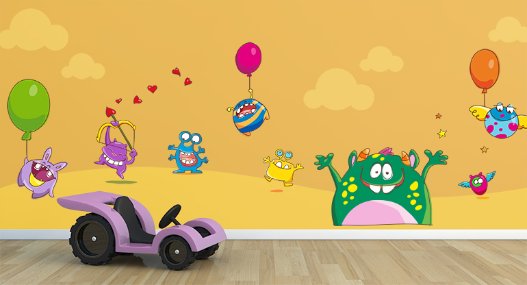 the Cheerful Monsters,  Wallstickers for Kids Bedroom