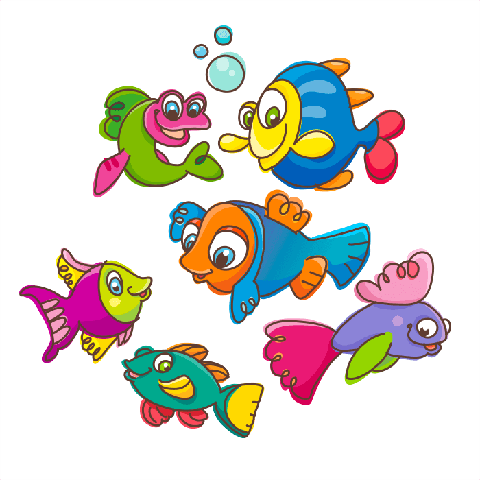 Underwater World Wallstickers for Children, 6 Minnows Sticker