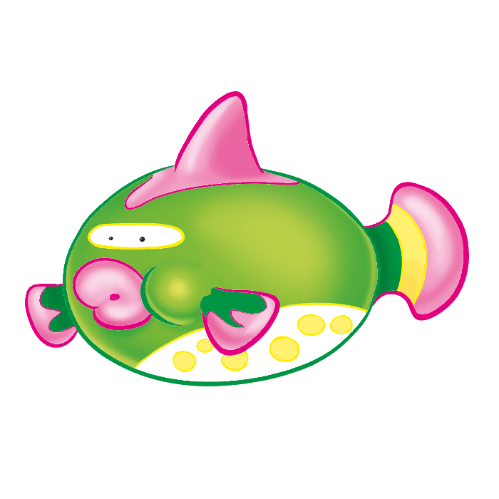 Tropical Fish Wallstickers for Kids, Green Puffer Fish Sticker