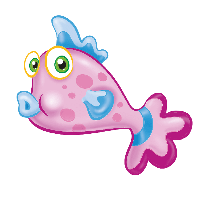 Tropical Fish Wall Decors for Kids, Pink Fish Sticker