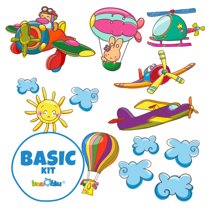 Stickers da Muro per Cameretta Basic Kit In Volo