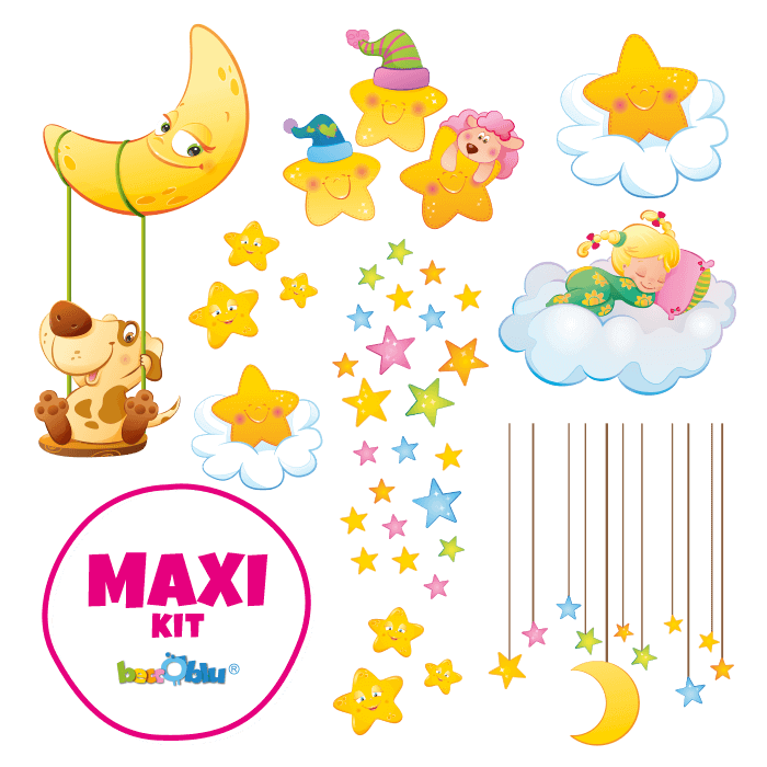 Wall Decors for Children Maxi Kit Moon and Stars