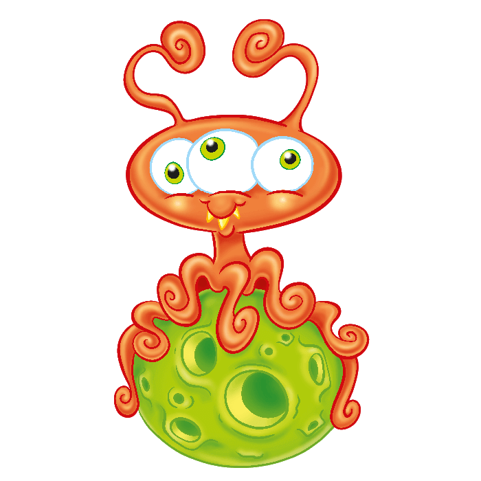 In the Space Wallstickers for Kids, Three-eyed Alien Sticker