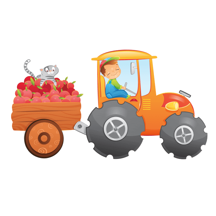 The Cheerful Farm Wall Decals for Kids, Cheerful Tractor Sticker