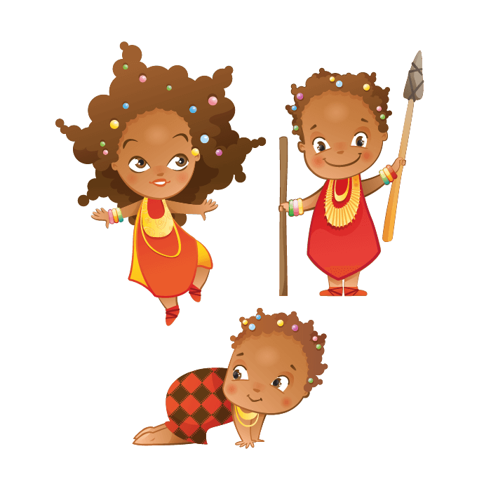 Safari Wall Stickers for Kids, Masai Children Sticker