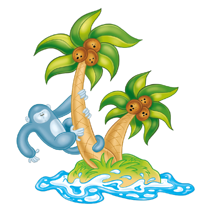 Welcome to the Tropics! Wall Decors for Children,  Sloth on the Palms Sticker