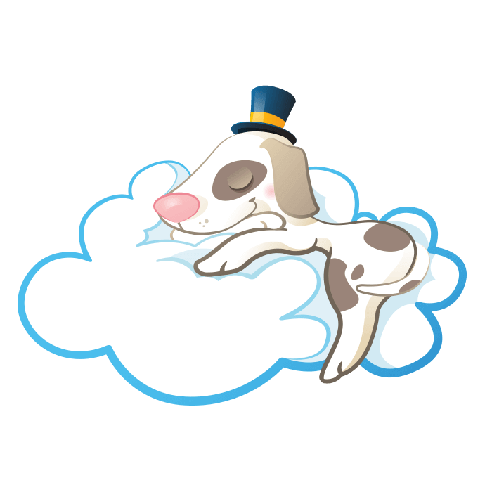 In the Clouds Wall Decors for Kids, Asleep Doggie Sticker