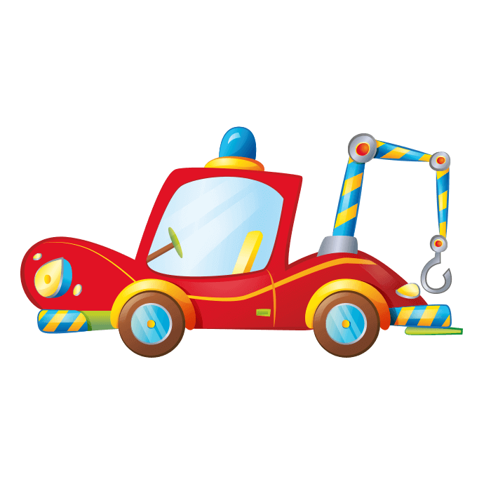Behind the Wheel Wallstickers for Kids, Tow Truck Sticker