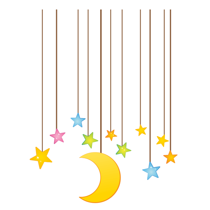 Moon and Stars Wallstickers for Kids, Fallstars Sticker