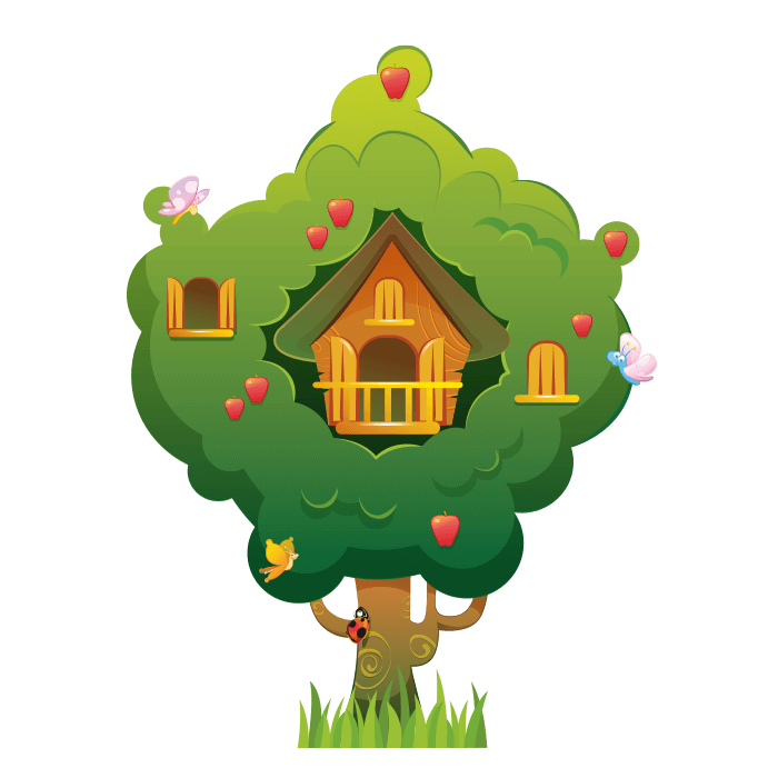 All at the Park Wallstickers for Kids, Small Tree House Sticker