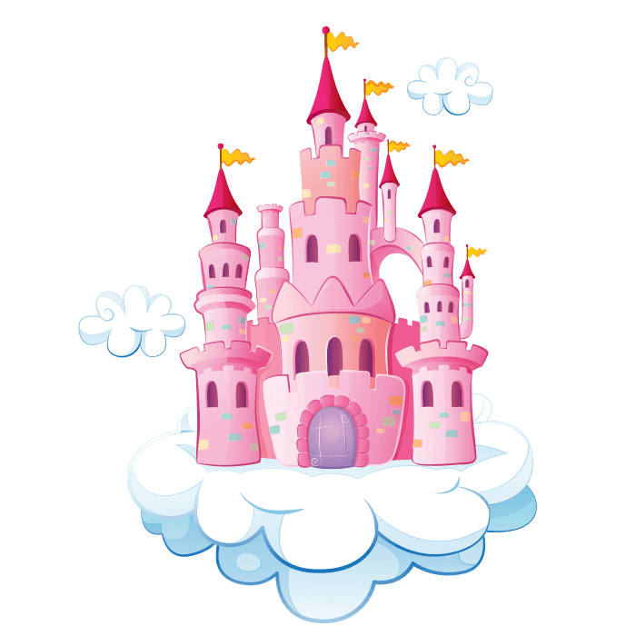 Wizards and Princesses Wall Decors for Children, Castle on Cloud Sticker