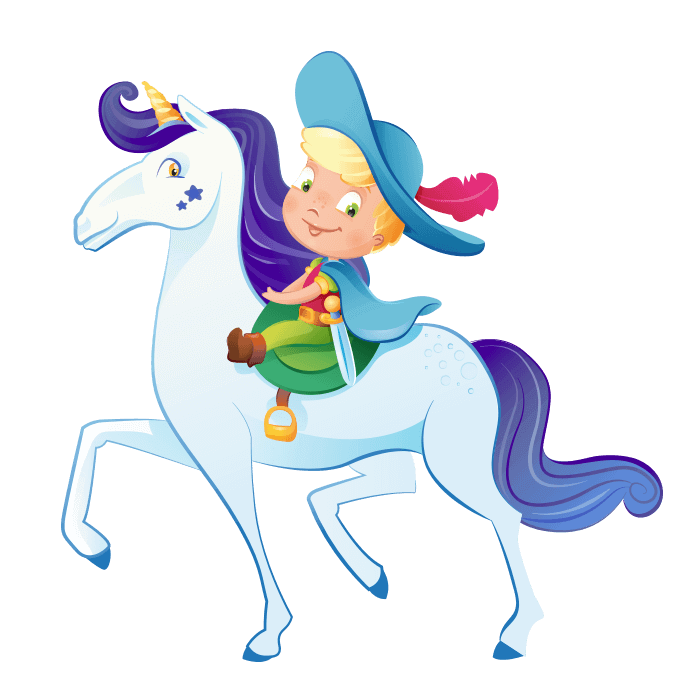 Wizards and Princesses Wallstickers for Kids, Knight and Unicorn Sticker