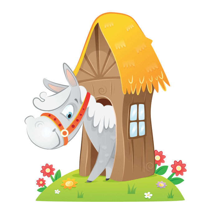 The Cheerful Farm Wall Decors for Kids, Pony in the Stable Sticker