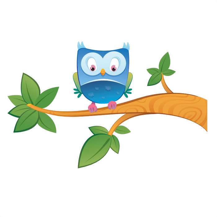The Friends of the Wool Wall Decors for Kids, Owl on Branch Sticker