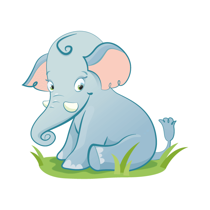 Safari Wallstickers for Kids, Baby Elephant Sticker