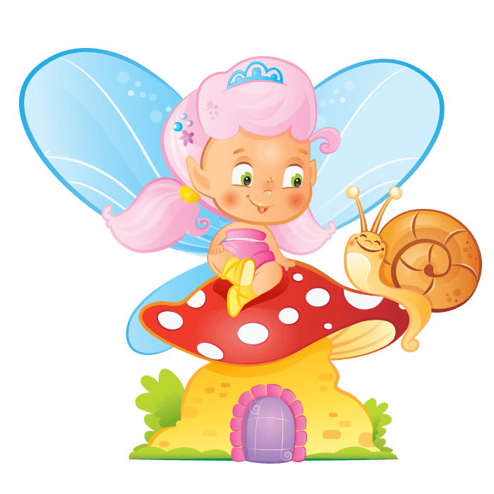 Fairies and Elves Wall Decals for Kids Rooms, Fairy on Mushroom Sticker