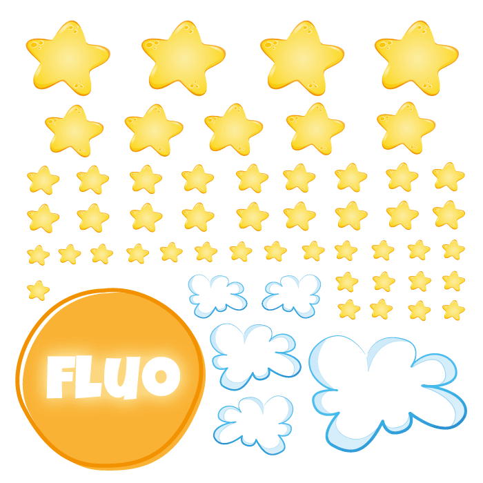 Fluorescent Wall Stickers Kit for Kids Room Clouds and Stars