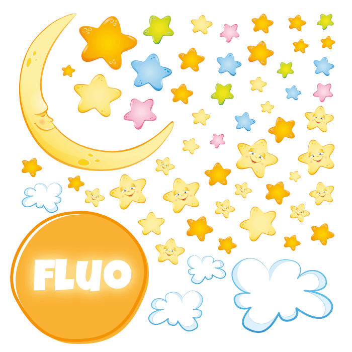 Fluorescent Wall Stickers Kit for Kids Room Magical Stars