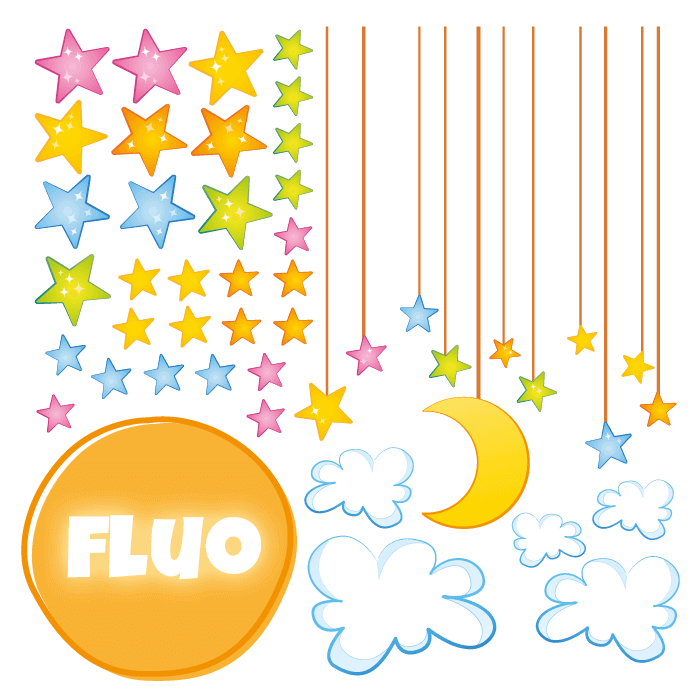 Fluorescent Wall Stickers Kit for Kids Room Fallstars