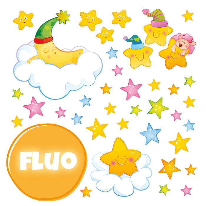 Fluorescent Wall Stickers Kit for Kids Room Goodnight Moon