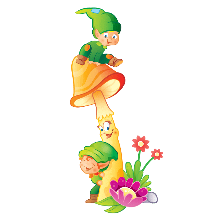Fairies and Elves Wall Stickers for Children Bedroom, Goblins on Mushroom Sticker