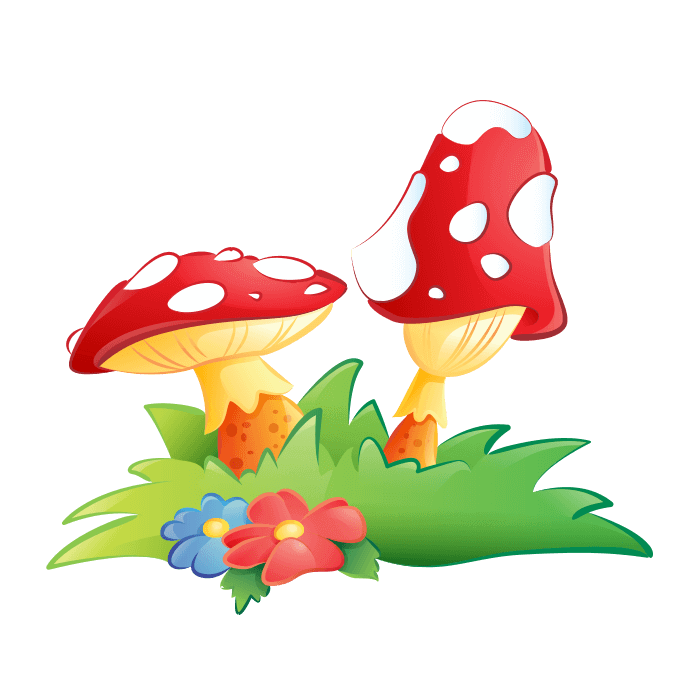 Fairies and Elves Wall Decors for Children Bedroom, Mushrooms Sticker