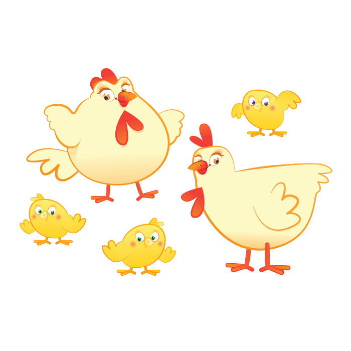 The Cheerful Farm Wall Decals for Children, Hens with Chicks Sticker
