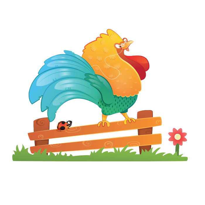 The Cheerful Farm Wallstickers for Children, Singing Rooster Sticker