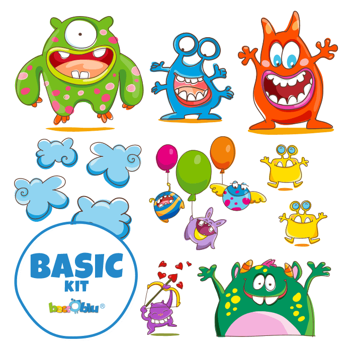 Wall Decors for Children Basic Kit the Cheerful Monsters