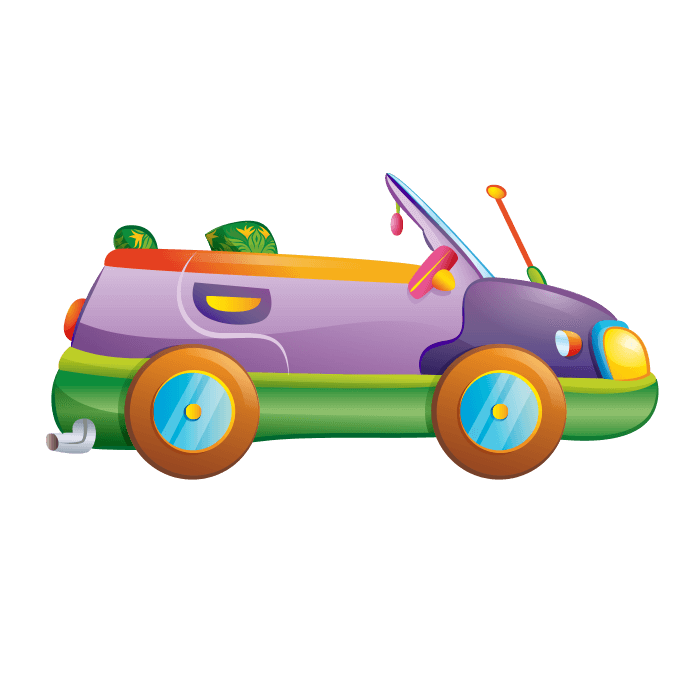 Behind the Wheel Wallstickers for Children,Purple Car Sticker