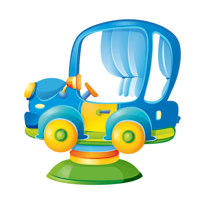 All at the Park Wallstickers for Children, Blue Toy Car Sticker