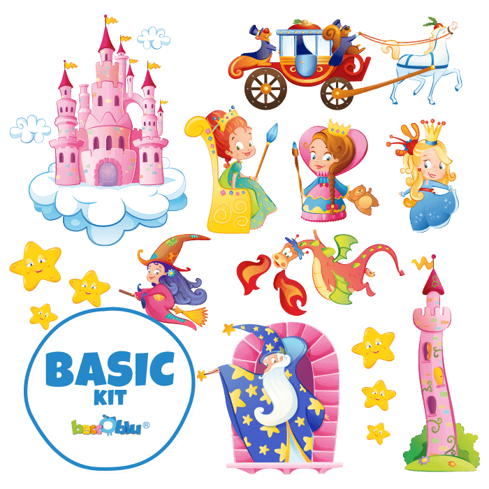 Wall Stickers for Kids Basic Kit Wizards and Princesses