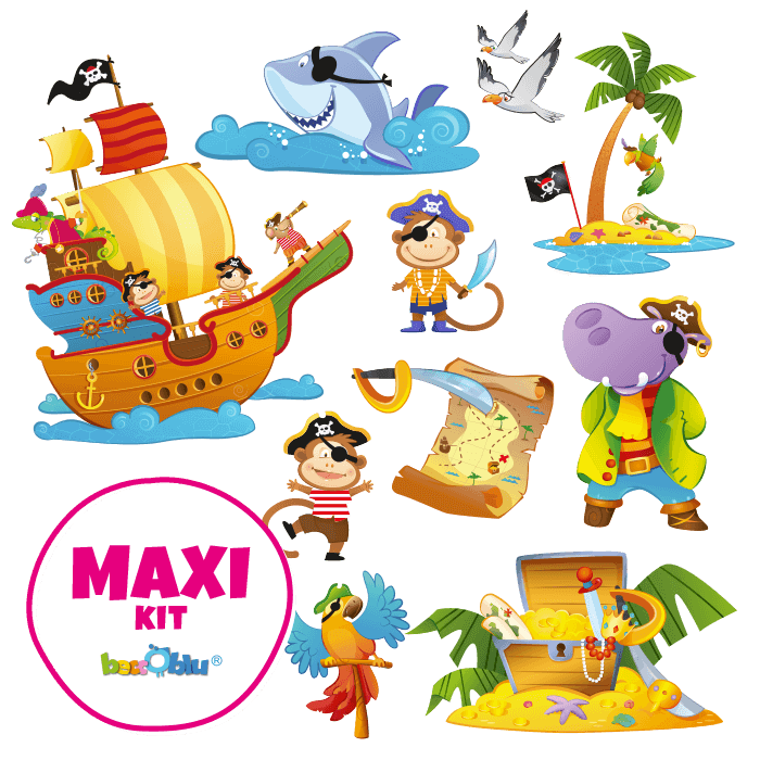 Wall stickers for Children Maxi Kit the Pirates Galleon