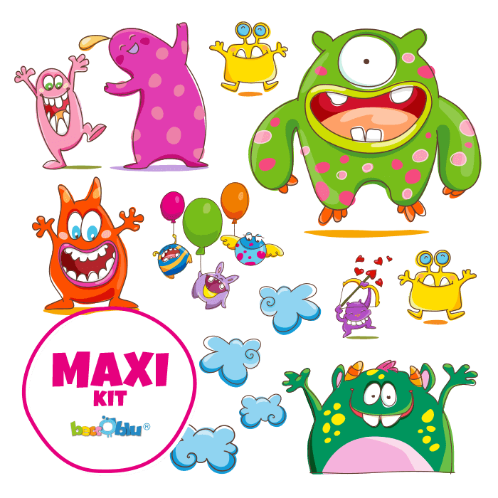 Wall Decals for Children Maxi Kit the Cheerful Monsters