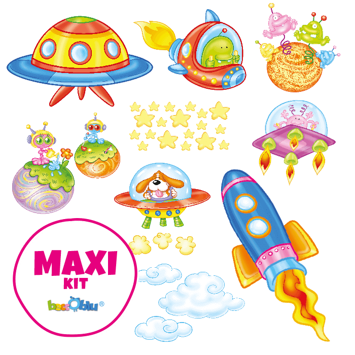 Wall Decals for Kids Maxi Kit In the Space