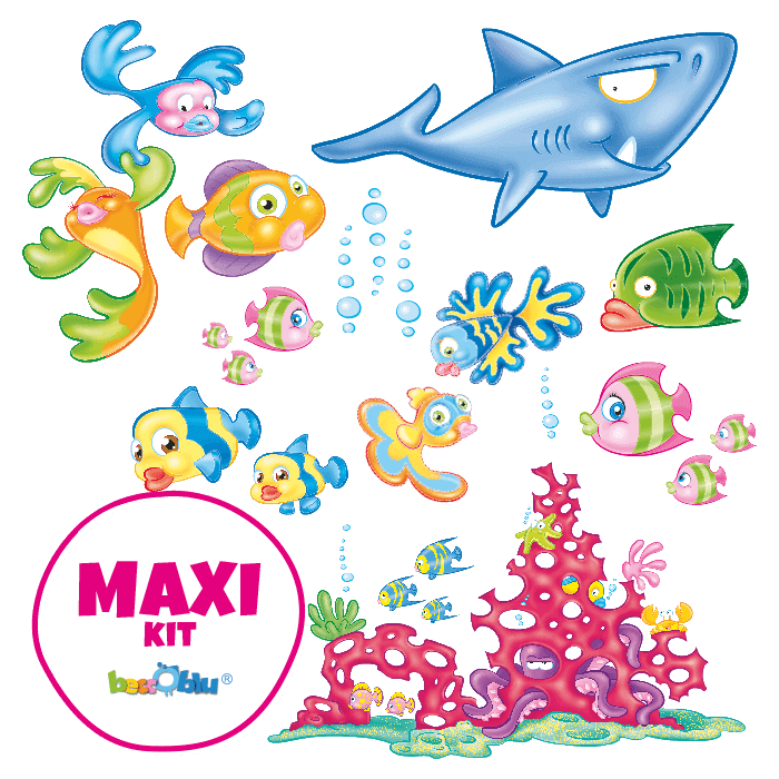 Wall Decals for Children Maxi Kit Tropical Fish