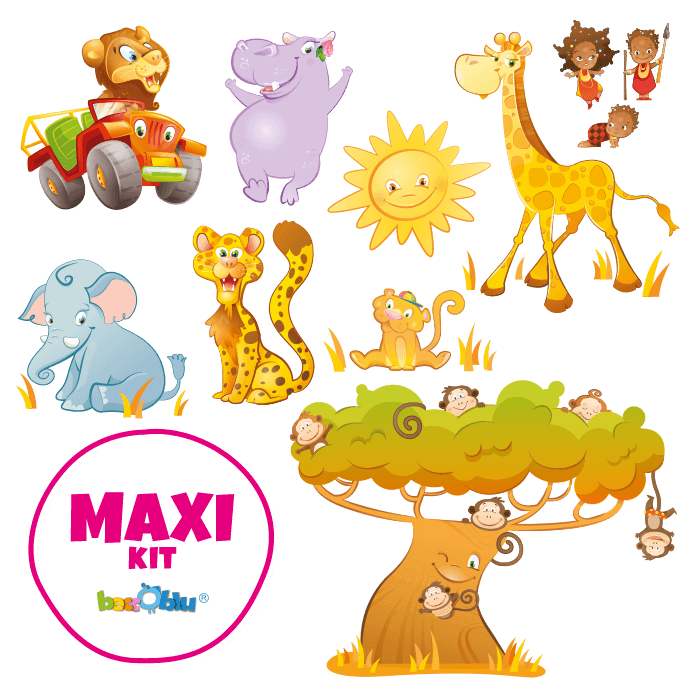 Wall Decors for Children Maxi Kit Safari Park