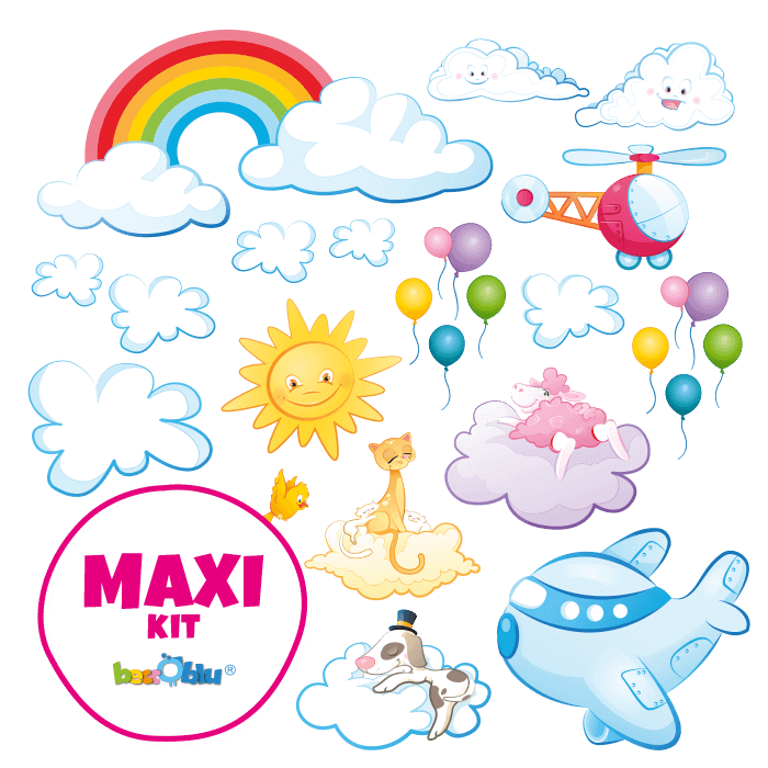 Wall stickers for Children Maxi Kit In the Clouds