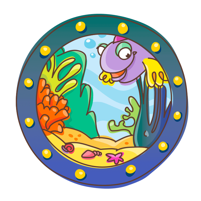 Underwater World Wall Decors for Kids, Porthole with Minnows Sticker
