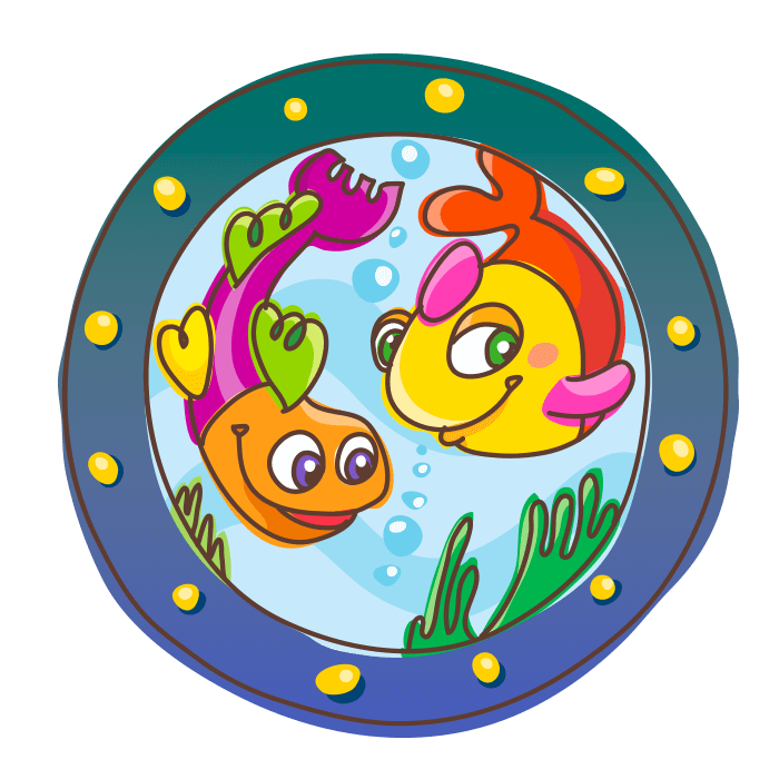 Underwater World Wall Stickers for Children, Porthole with Fish Sticker