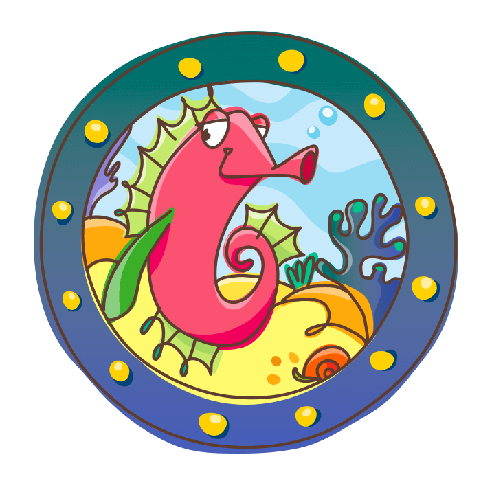 Underwater World Wall Decals for Children, Porthole with Seahorse Sticker