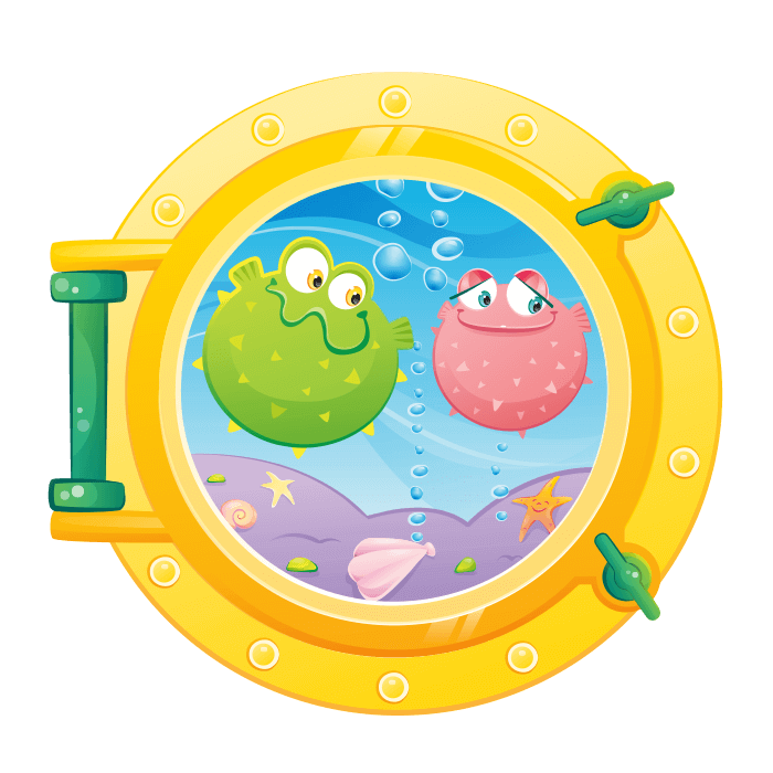 A Dip in the Sea Wallstickers for Children, Ballon-Fish Porthole Sticker