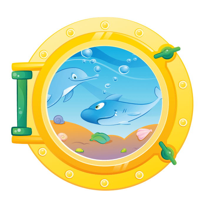 A Dip in the Sea Wallstickers for Children, Porthole with Sharks Sticker
