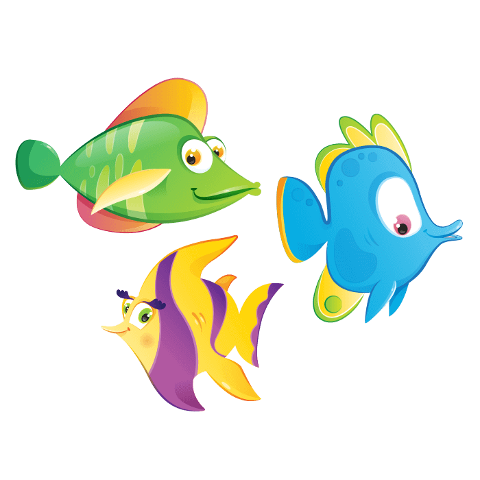 A Dip in the Sea Wall Decals for Children, Colorful Fish Sticker